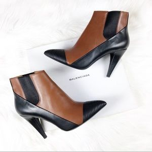 Balenciaga • Two Toned Leather Heeled Ankle Boots